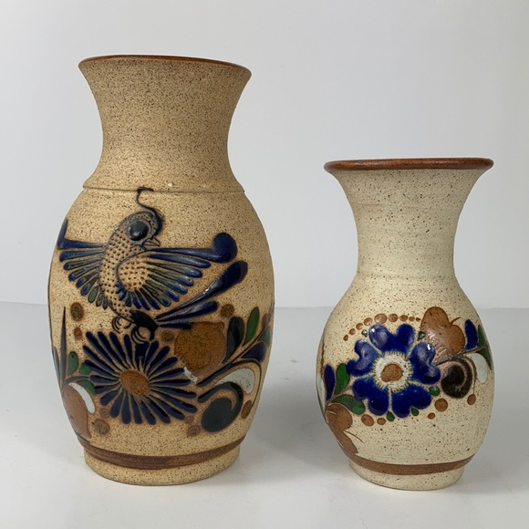 Mexican Tonala Sand Pottery Hand Painted Vases